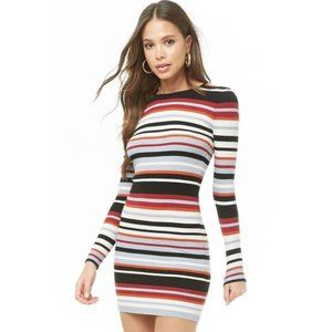 FOREVER 21 Striped Ribbed Mini Cozy Sweater Dress